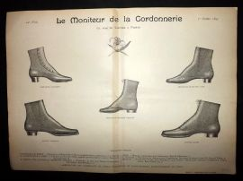 Le Moniteur de la Cordonnerie 1893 Rare Antique Shoe Design Print 28